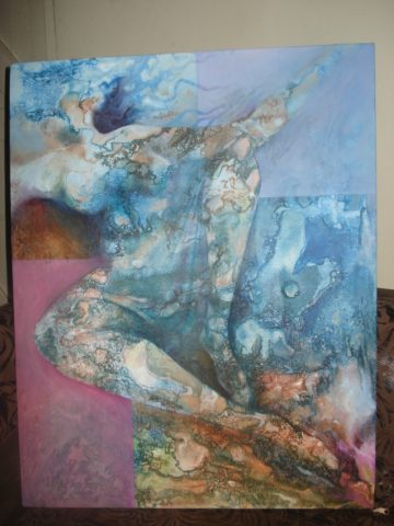 Reclining beauty Painting: Acrylic on canvas Inspired by marbling, Style: Surrealism Theme: Woman painting by Kenyan artist