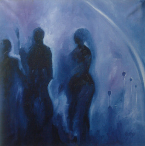 Misty day Painting: Oil on canvas Silhouettes walking in the mist Theme: Mist painting by Kenyan artist