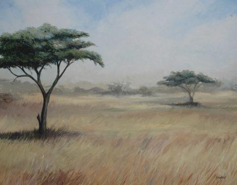 Masai mara Painting: Acrylic on canvas Savanna plains, Atmospheric depth. Style: Realism Theme: Landscape painting by Kenyan artist