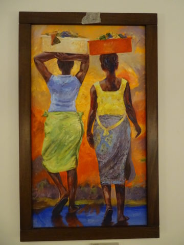 Heading home Painting: Acrylic on canvas Laundry day, going home from the river. Style: Expressionism Theme: Laundry day painting by Kenyan artist