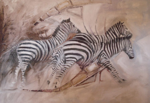 Striped stripes Painting: Oil on canvas Zebra on stampede. Style: Expressionism Theme: Wildlife painting by Kenyan artist