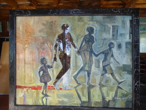 Red shadow Painting: Acrylic on canvas Painted for a show with Amnesty International. The artwork explored extra judicial killings Style: Semi abstract Theme: Family painting by Kenyan artist