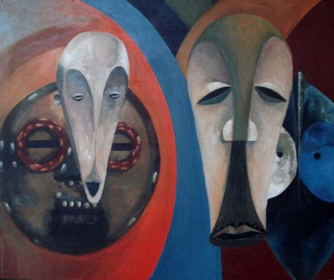 Masks Painting: Acrylic on canvas A study of african masks Style: Realism Theme: Mask painting by Kenyan artist