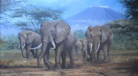 Amboseli kings Painting: Acrylic on canvas Feeding in the marshes or lazing around, you will not miss the elephant in Amboseli. Mighty tusks, Mt Kilimanjaro in the background Style: Realism Theme: Wilderness painting by Kenyan artist
