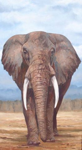 Tusker Painting: Acrylic on canvas Elephant painted with thick layers of paint. Savanna plains Style: Realism Theme: Wildlife painting by Kenyan artist