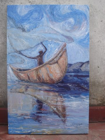 After Van Gogh Painting: Acrylic on canvas A study of Vincent brush strokes. Style: Realism Theme: Fishing painting by Kenyan artist