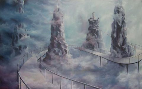 In search for peace Painting: Oil on canvas Dreamy world. Style: Surrealism Theme: Dream painting by Kenyan artist