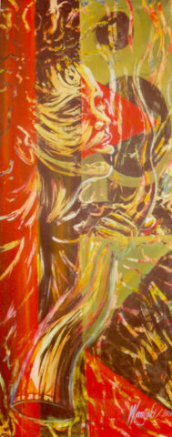 Oracle Painting: Acrylic on canvas Used colour, patterns and lines to capture the spirit of this music. Masking fluid was used for the resist method. Style: Expressionism Theme: Culture painting by Kenyan artist