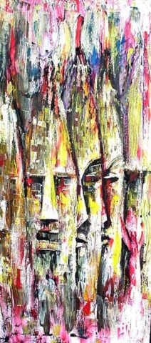 God fathers Painting: Acrylic on canvas Palette knife painting. Inspired by tribal masks. Style: Abstract Theme: Spiritual painting by Kenyan artist