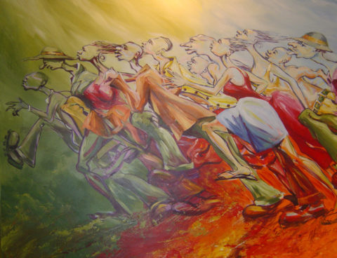 Chiefs run Painting: Acrylic on canvas Energy, movement. Style: Impressionism Theme: Action painting by Kenyan artist