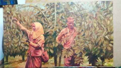 Coffee pickers Painting: Oil on canvas Painted after a photo from the 60's. Used sepia to express the era. Style: Realism Theme: Farming painting by Kenyan artist