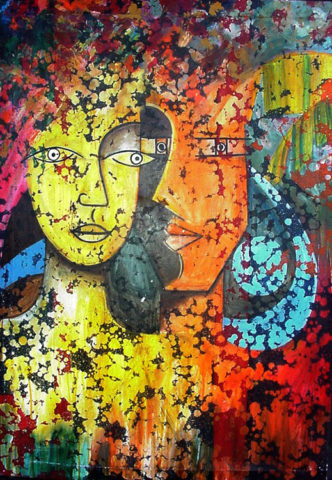 Rapport Painting: Acrylic on canvas Lovers things. Style: Abstract Theme: Eros painting by Kenyan artist