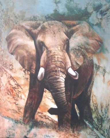 Mighty Painting: Acrylic on canvas Big elephant bull. Style: Realism Theme: Wildlife painting by Kenyan artist