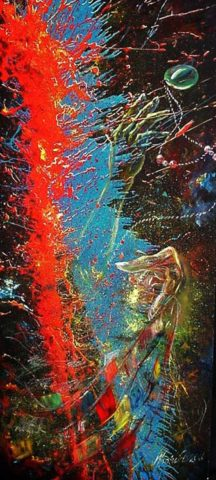 My pearl Painting: Acrylic on canvas A splash of paint. Style: Expressionism Theme: Action painting by Kenyan artist
