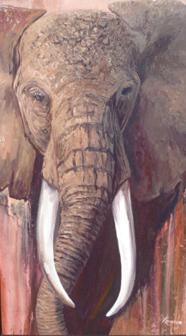 Ivory is mine Painting: Acrylic on canvas Thick paint application. Tusks Style: Realism Theme: Wildlife painting by Kenyan artist