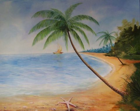 MV Akinyi Painting: Acrylic on canvas Coastal beach. Coconut Style: Realism Theme: Sandy beach painting by Kenyan artist
