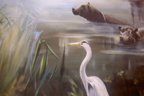 Detail, Baburi mural Painting: Acrylic on canvas Detail from a large mural. Style: Realism Theme: Wildlife painting by Kenyan artist