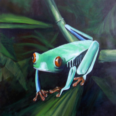 Froggy Painting: Acrylic on canvas Green frog. Style: Realism Theme: Nature painting by Kenyan artist