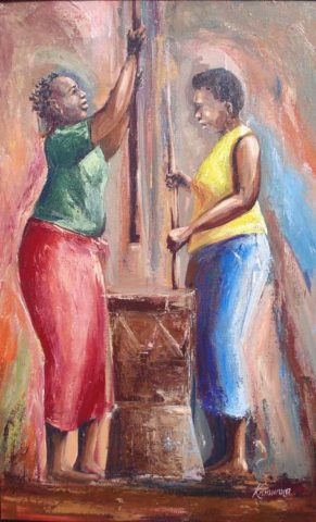 Ndiri na muthi Painting: Acrylic on canvas Mortar and pestle. Used for grinding foods. The role was carried out by women Style: Realism Theme: Food painting by Kenyan artist