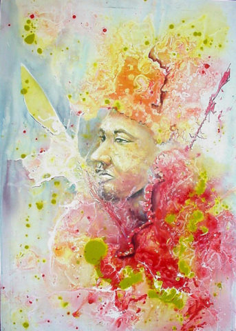 Prince Painting: Acrylic on canvas The colours suggested royal regalia Style: Impressionism Theme: warrior painting by Kenyan artist