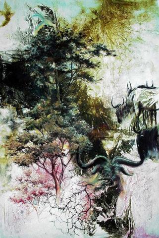 Savanna Painting: Acrylic on canvas Spirit of the Mara plains. Wildebeest, Thorn tree Style: Impressionism Theme: Maasai mara painting by Kenyan artist