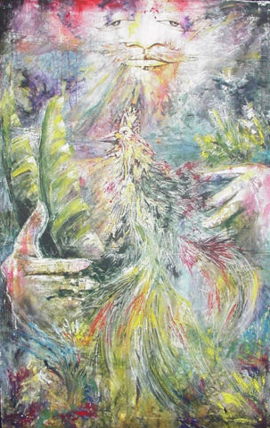 Deity Painting: Acrylic on canvas Let there be life, flora and fauna. Style: Surrealism Theme: Spiritual painting by Kenyan artist