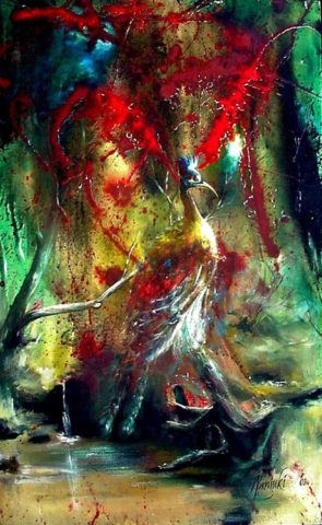 In the woods Painting: Acrylic on canvas Lonely bird. Walk deep in the forest. Style: Surrealism Theme: Nature painting by Kenyan artist