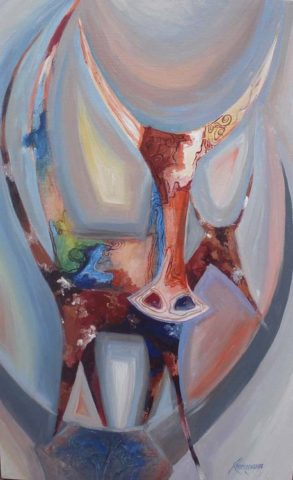 The hunted Painting: Acrylic on canvas Stylised animal characters. Style: Abstract Theme: Dream painting by Kenyan artist