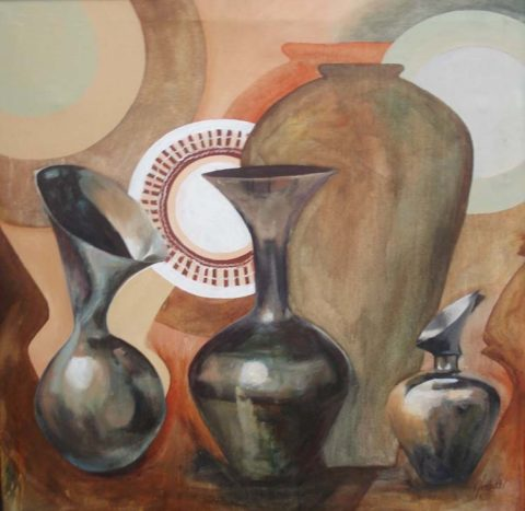The ceramist Painting: Acrylic on canvas Ceramics explores very fine curves. The piece was created for a dinner space. Style: Semi abstract Theme: Clay vessels painting by Kenyan artist