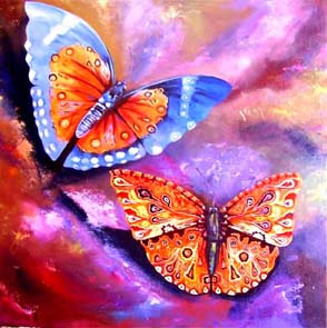 Butterflies Painting: Acrylic on canvas Colour and patterns, the butterfly is a flower. Style: Realism Theme: Nature painting by Kenyan artist