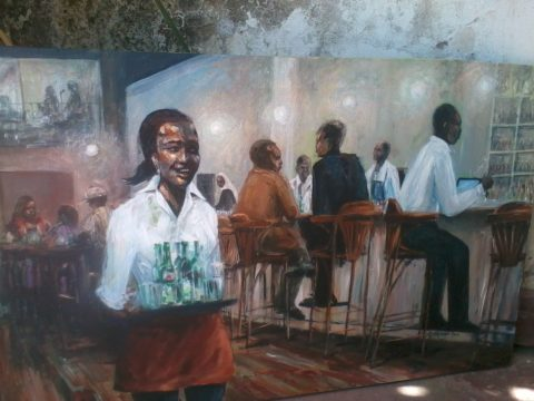 Serving with a smile Painting: Acrylic on canvas Painted during live jazz perfomance at Art cafe, westgate mall. Heineken promotion art and jazz. Style: Expressionism Theme: Entertainment painting by Kenyan artist