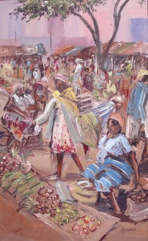 Market day Painting: Acrylic on canvas Speed painting. Minimal detail Style: Expressionism Theme: Market painting by Kenyan artist