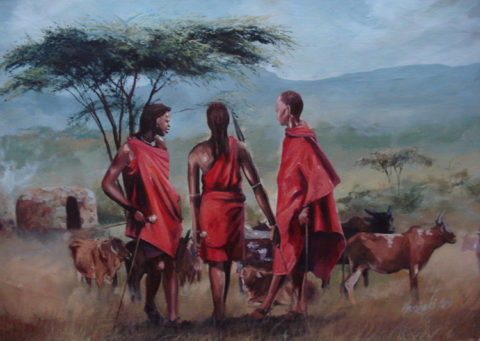 Herders Painting: Acrylic on canvas Maasai herdsmen. Style: Realism Theme: Grazing cattle painting by Kenyan artist