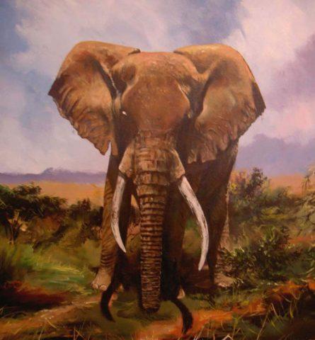 Ndovu series 1 Painting: Acrylic on canvas Elephant in the savanna. Style: Realism Theme: Wildlife painting by Kenyan artist