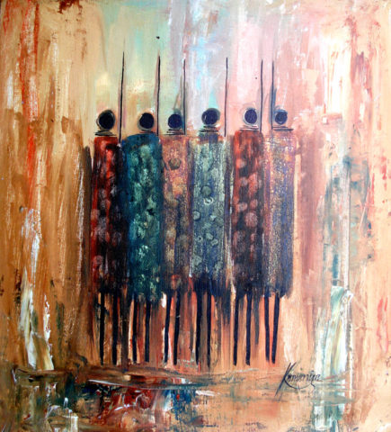 Warriors kamukunji Painting: Acrylic on canvas Warriors meeting. Garments painted with the finger. Style: Semi abstract Theme: Cultural painting by Kenyan artist