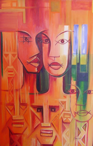 Us Painting: Acrylic on canvas Lovers. Relationships Style: Abstract Theme: Love painting by Kenyan artist