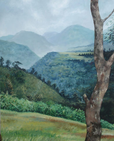 Chania valley Painting: Acrylic on canvas Painted from an actual scene in the Aberdares reserve. This is my childhood escapades scene. Grew up next to the the evergreen forest one of the main water towers in kenya. Style: Realism Theme: Nature painting by Kenyan artist