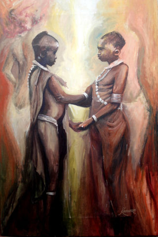 Young kikuyu girls Painting: Acrylic on canvas Beautiful girls in traditional regalia. Jewelery, beeds, ornamentation. Style: Realism Theme: Cultural painting by Kenyan artist